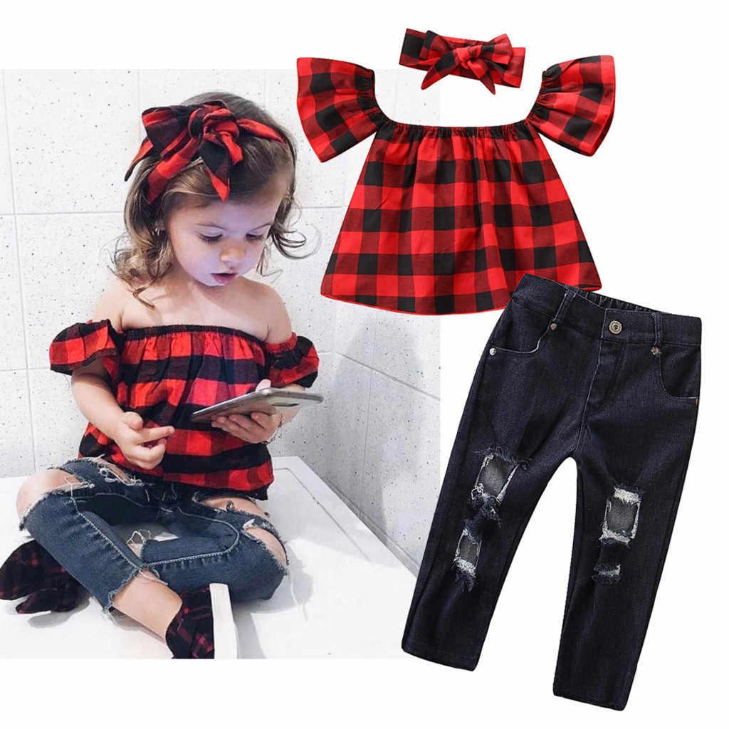 Одежда для маленьких девочек топы в клетку с открытыми плечами + рваные джинсовые