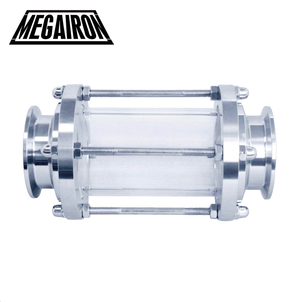 MEGAIRON New 2 Tri Clamp Type Flow Sight Glass Diopter For Homebrew Diary Product Stainless Steel SS316 Ferrule OD 64mm