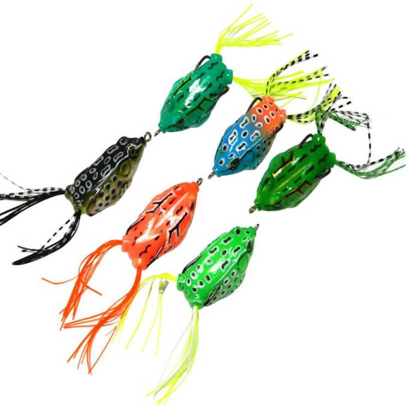 6 шт. лягушка приманка для змееголова рыболовные приманки Мягкая приманка для окуня Weedless крючок дизайн Мягкая кожа полые тело Topwater karper pescaria A20