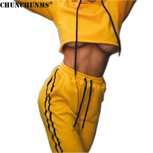 2017 Hoodies Cropped Top And Full Length Trouser Two Piece Woman Set Lace Up Casual Fitness Female Tracksuits Woman Clothing S07