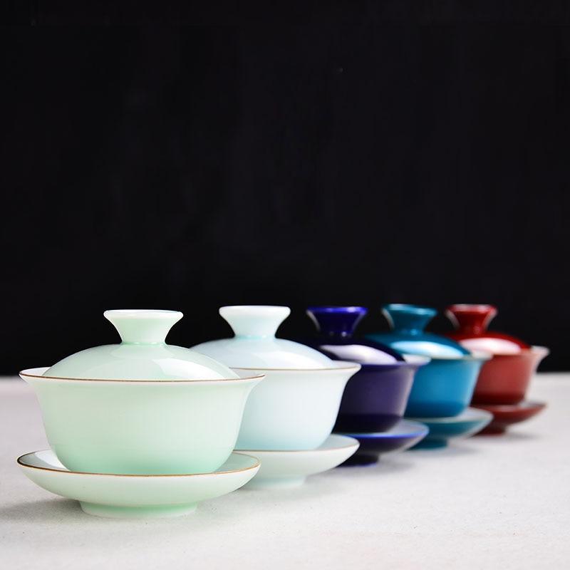 Creative Brief Pigment Chinese Jingdezhen Tea Set Pottery Porcelain CeramicTea Bowl Cup for Tea Tray Table
