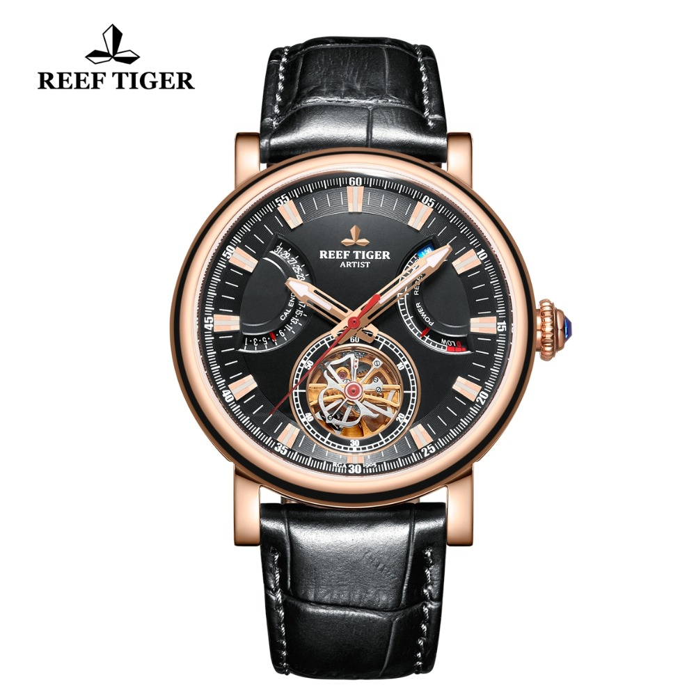 Reef Tiger/RT Luxury Brand Mens Watches Rose Gold Black Dial Sapphire Glass Automatic Watches Brown Leather Strap Watch RGA1950Reef Tiger/RT Luxury Brand Mens Watches Rose Gold Black Dial Sapphire Glass Automatic Watches Brown Leather Strap Watch RGA1950