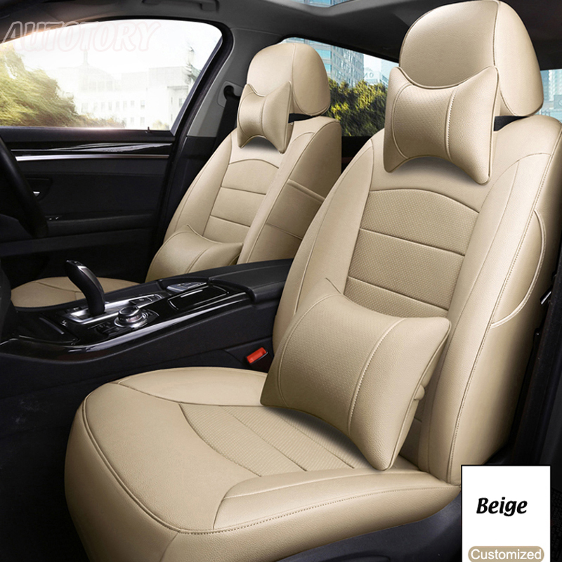 Autotory Genuine Leather Cover Seats for Dodge Avenger Cowhide Custom Automobiles Seat Covers Sets Cushion Supports Accessories