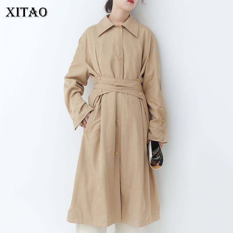 [XITAO] Single Breasted Women Europe Fashion Solid Color A-line Turn-down Collar Full Sleeve Bandage Casual Long   Trench   WBB2268