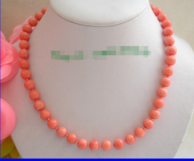 Free shipping@@@@@ stunning natural 10mm round pink crude coral necklace n350