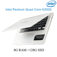 """P1-03 white 8G RAM 128G SSD Intel Pentium N3520 14 laptop notebook keyboard and OS language available for choose"""""""