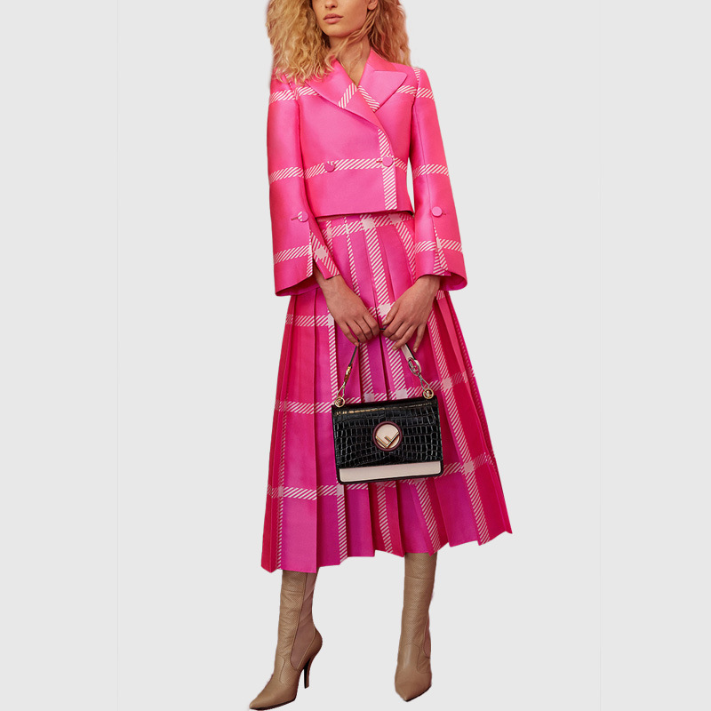 Autumn and Winter Plaid Two Piece Set Top and Skirt Short Top With Double Breasted Pleated Mid Calf Length Skirt Pink Dress Suit