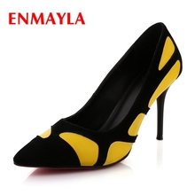 ENMAYLA  Pointed Toe Casual Thin Heels Slip-On Shoes Woman High Zapatos De Mujer Size 34-39 ZYL1995