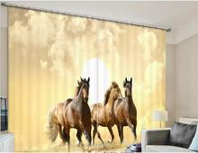 New Modern Blackout Window Curtain horse pattern 3D Curtains For Bedding room Living room Hotel Drapes