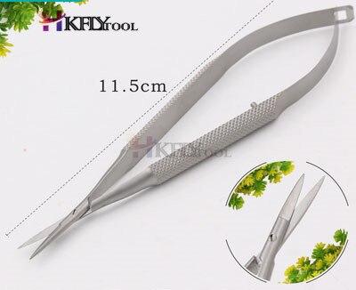 Микроскопические инструменты 12,5 см Микро ножницы, конъюктива зубчатые, щипцы, датчики, крючки, лопатки, щипцы - Цвет: Stainless Straight