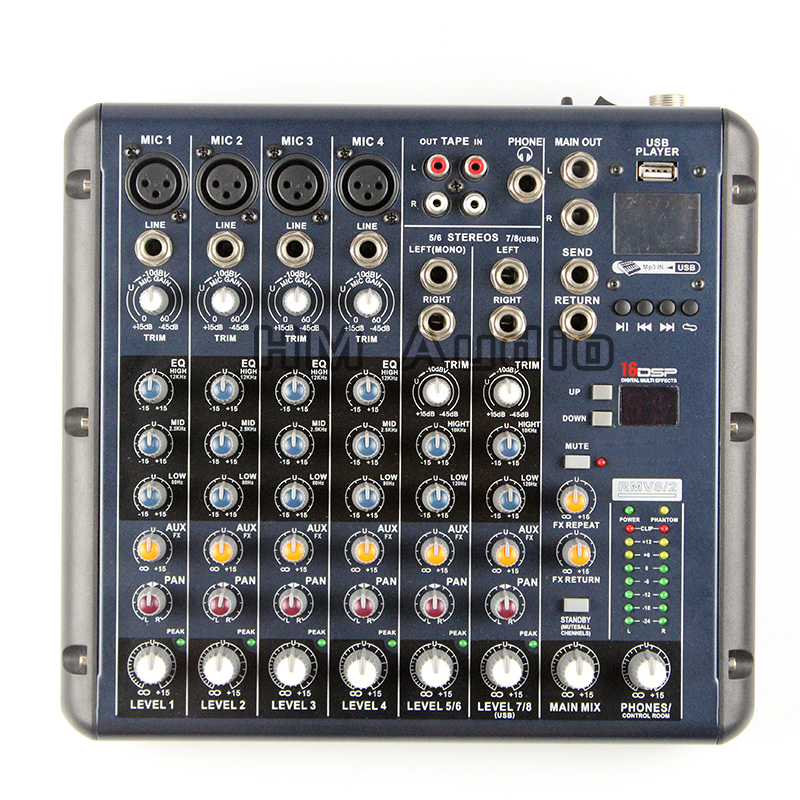 RMV8/2 8 Channels (4 Mono + 2 Stereo) 16 DSP Sound Console Equipment Professional USB Audio DJ Mixer