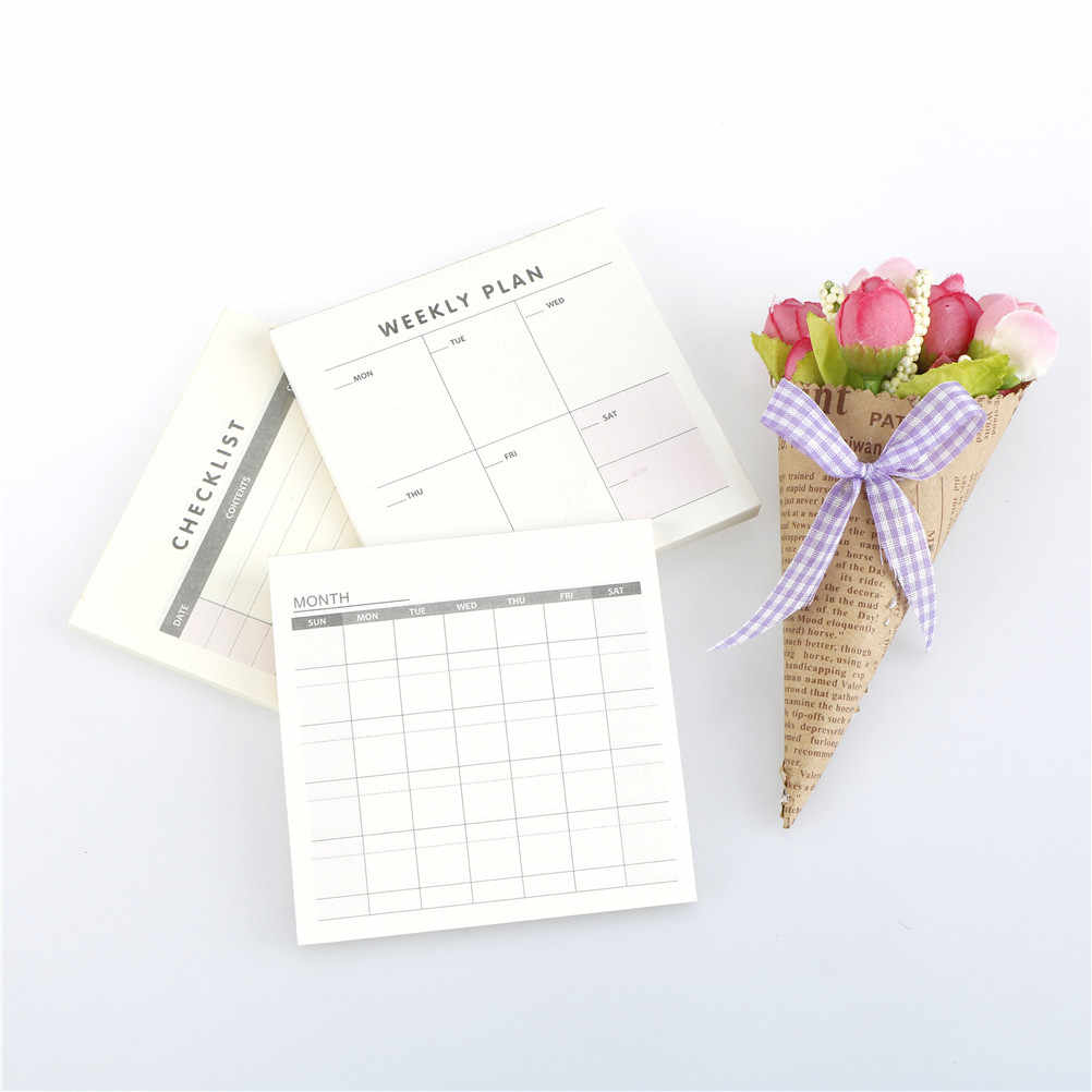 (60 หน้า) เดือนโน้ตบุ๊ควัน Sketchbook Kawaii วาระการประชุมโน้ตบุ๊ค Notepad วาระการประชุม Weekly Planner