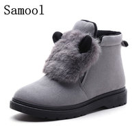 2017 Woman Ankle Boots Rabbit Ears Moccasins Plush Boots Woman Suede Warm With Fur Winter Boots Women Shoes Zapatos Mujer WX5