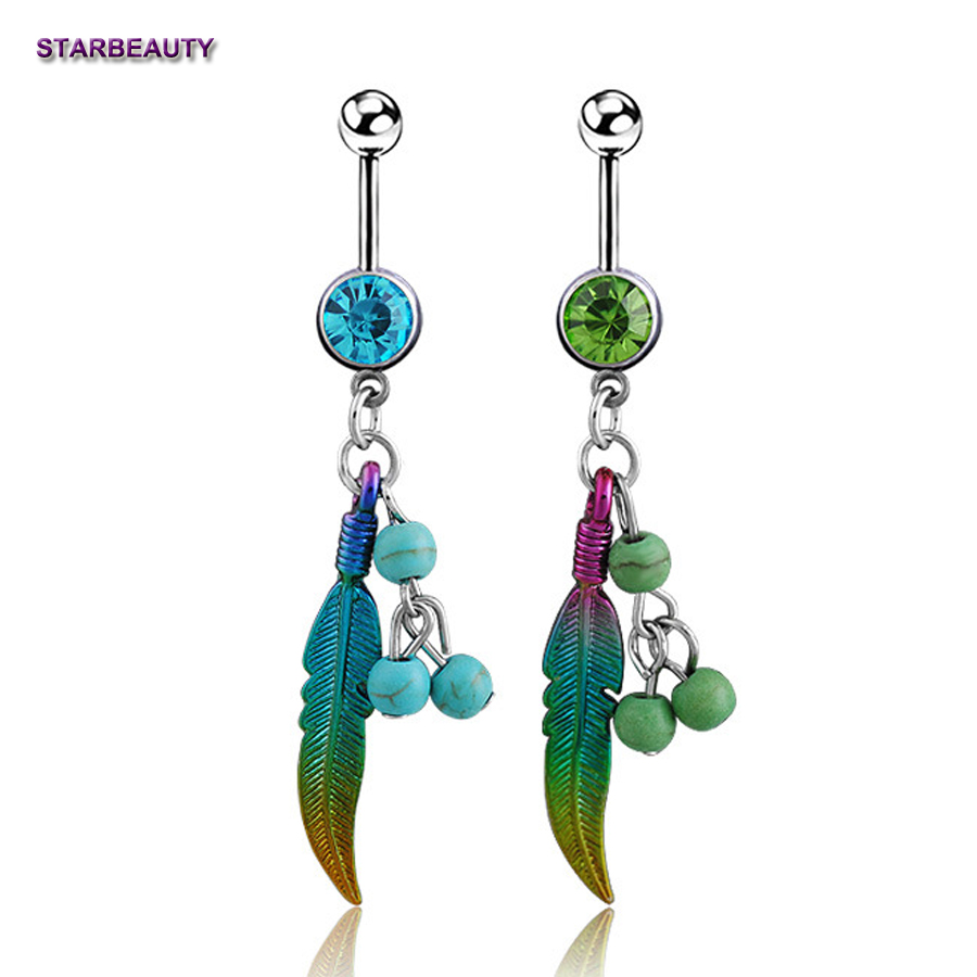 1Pc Blue Stone Green Leaf Navel Piercing Nombril Ball -8393