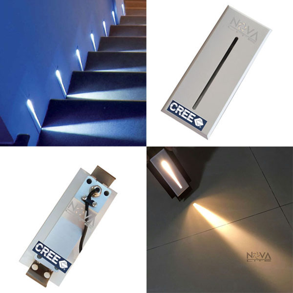2 stks blade stap licht wit led inbouw trap verlichting pure aluminium ip54 muur voet lamp 3 w. Black Bedroom Furniture Sets. Home Design Ideas
