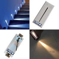 2PCS Blade Step Light White, LED Recessed Stair Lighting Pure Aluminum IP54 Wall Foot Lamp 3W XBD