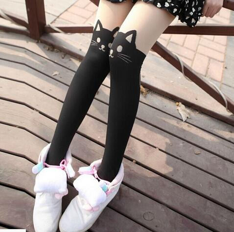 100pairs/lot fedex fast free shipping woman cartoon cat tights sexy pathcwork cat pantyhose free size