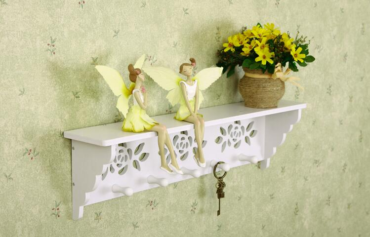 fashion rose flower cut out white wall hanging wood shelf goods ...