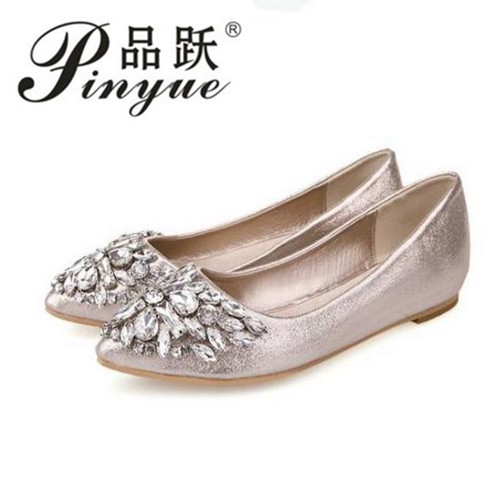new women Ballet leisure autumn Moccasins pointy fashion ballerina Rhinestone drill shiny flats loafers shoes princess Crystal princess poppy ballet shoes