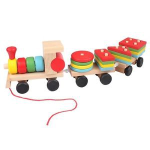 New Arrival 1 Set pretty Colorful Wooden Train Building Blocks Educational Baby Children Toy 2015 Free Shipping