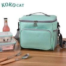 KOKOCAT Brand Lunch Bag Thicken Nylon Cooler Lunchbox Food Picnic Bags for Women Thermal Box Kids Milk