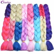 купить✲  Chorliss 32inches Синтетические Канекалон Длинные Jumbo Косы Наращивание волос 82см 165г Серый Синий