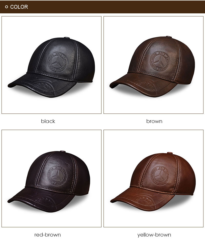 Genuine Leather Embossed Mens Baseball Cap - Available Four Colors