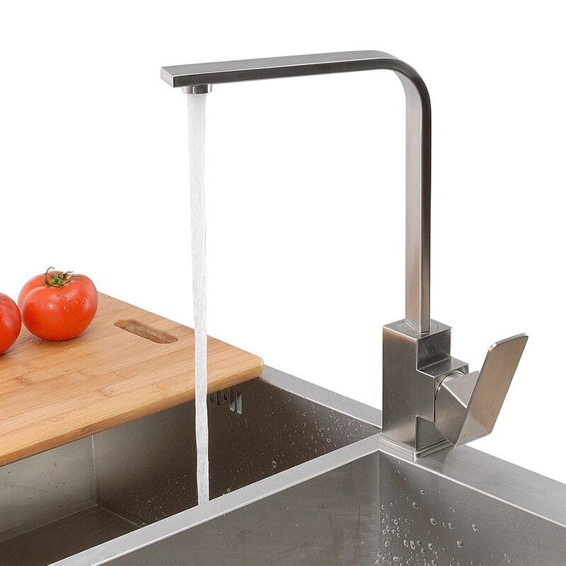 Mélangeur d'évier d'eau de robinet de cuisine de Type carré d'acier inoxydable de SUS 304