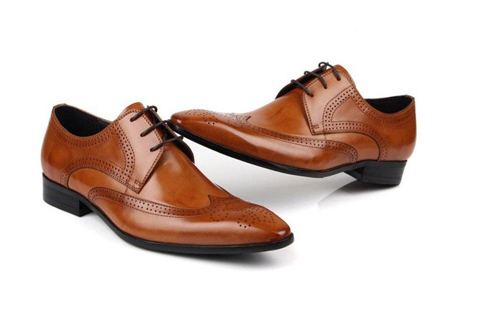 Véritable cuir beige noir mode Italienne chaussures hommes Marque des hommes d'affaires de robe chaussures Rétro Noir Sculpté Chaussures De Mariage - 3