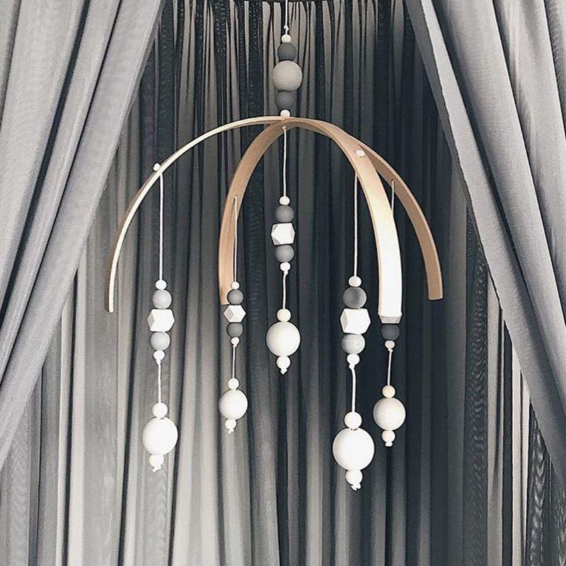 INS Nordic Stil Holz Perlen Windspiele Baby Bett Hängen Windbell Kinder Zimmer Krippe Zelt Ornament Baby Zimmer Dekoration