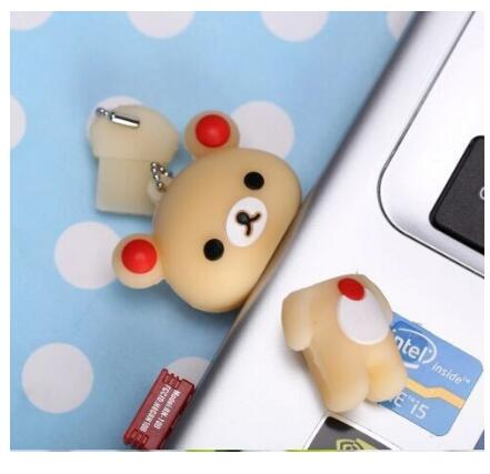 2019 Lovely Pen drive Rilakkuma Bear Style USB flash drive stick memory U disk 4GB 8GB 16GB 32GB 64GB 128GB Free shipping in USB Flash Drives from Computer Office