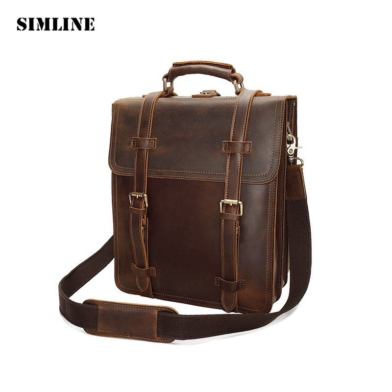 Brand Vintage Casual Genuine Crazy Horse Leather Cowhide Men Men's Travel Backpack Backpacks Shoulder Bag Bags Handbag For Man new arrival 2016 classic vintage men backpack crazy horse genuine leather men bag travel cowhide backpacks school bags li 1320
