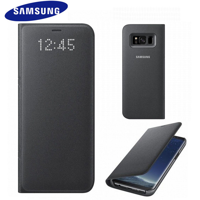 pretty nice a8ad0 66d57 US $73.99 |Original Genuine Official Samsung Galaxy S8 Plus S8+ LED View  Case Smart Flip Case SM G9550 G9500 Protective Cover Anti knock-in Wallet  ...