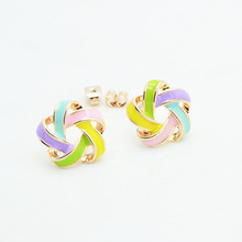 Fashion jewelry New rose gold color enamel flower stud mix color gift  for women girl wholesale E2610