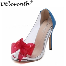 2016 Fashion Mix-colour Bow-tie Shoes Women Peep Toe High Heels Transparent Soft Leather Special New Banquet Red Blue