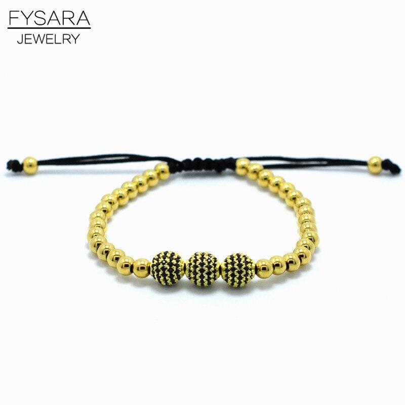 190d2e2dc1ba ᗗFysara золото-Цвет 5 мм Нержавеющая сталь Бусины Браслеты для Для ...