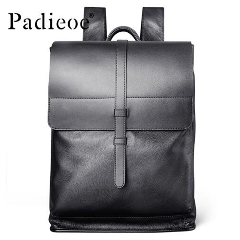 Padieoe Luxury Genuine Cow Leather Men s Travel Backpack Fashion Square Design Men s Laptop Bag
