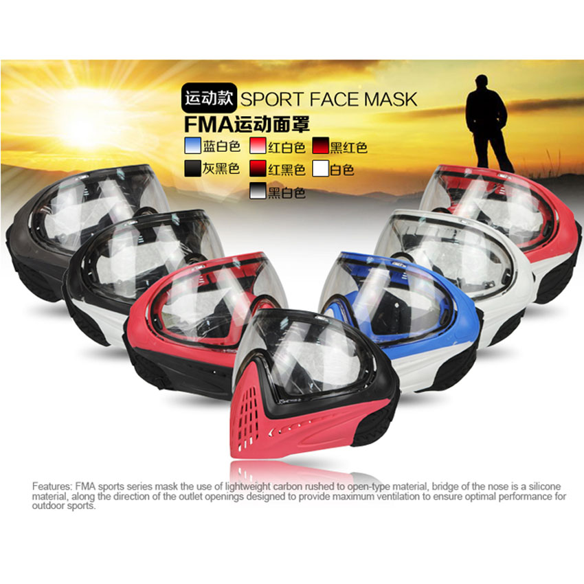 FMA F1 Outdoor Paintball Airsoft Safety Anti-fog Goggle/Full Face Mask 21 Colors fma wire mesh iron man 2 airsoft fiberglass mask