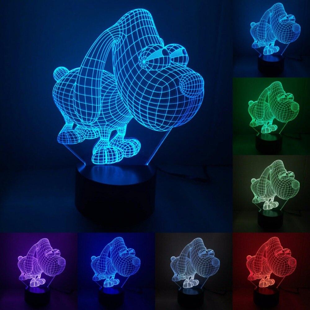 Большая собака Touch Сенсор Новинка Акриловые 3D светодиодный ночник для Бади комнаты тумбочка лампа творческий украшения светильников IY803390