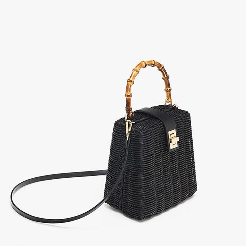 2019 petite boîte perles noir blanc sac de paille portable en bandoulière à la main femme sac de plage-in Sacs à bandoulière from Baggages et sacs    2