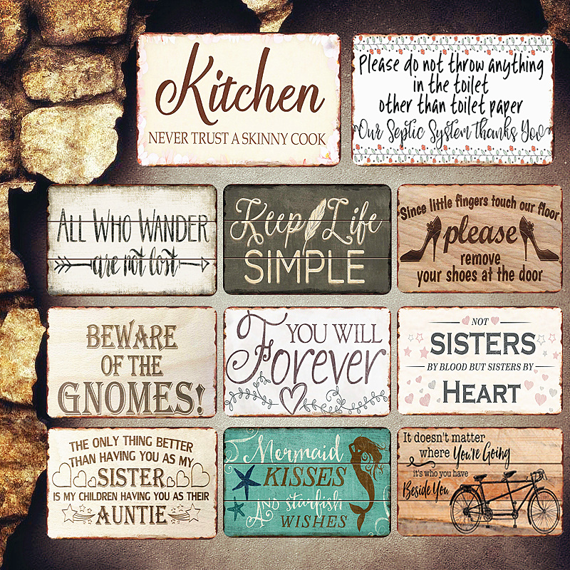 Kitchen Plaques Island Wood Vintage Metal Plates Pub Cafe Bar Decorative Signs Sisters Heart Wall Stickers Tip Board Art Poster Home Decor In From