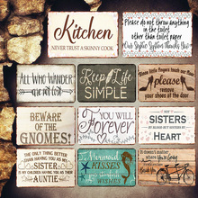 Kitchen Plaques Vintage Metal Plates Pub Cafe Bar Decorative Signs Sisters Heart Wall Stickers Tip Board Art Poster Home Decor