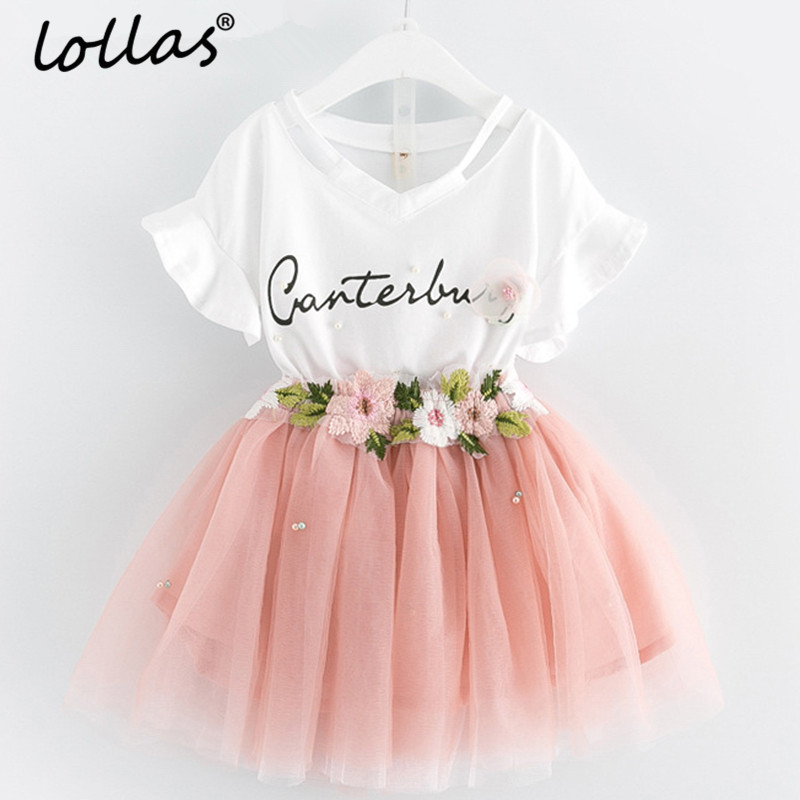 Lollas 2018 New Girls Sets Children Clothing Petal Sleeve Flowers Applique Cotton Short Shirt+Dress 2Pcs Sets For 3-7 Years