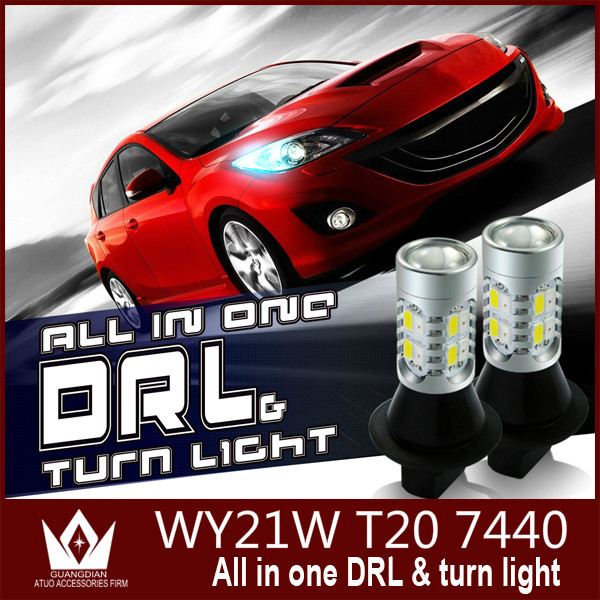 ФОТО Guang Dian car led light daytime running light & Front Turn Signals light Car drl led Winker White + Yellow 20W T20 7440 WY21W