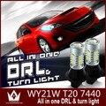 Guang Dian coche luz led daytime luz corriente y Señales de Giro Delanteras luz drl Del Coche Blanco + Amarillo 20 W T20 7440 WY21W led Winker