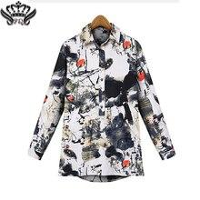 Camisas de Las Mujeres Camisa de Manga Larga de Las Mujeres de lujo Sábanas de Algodón Turn-down Collar Blusas Femininas Blusa Casual Tops Para Mujer de Moda 2016