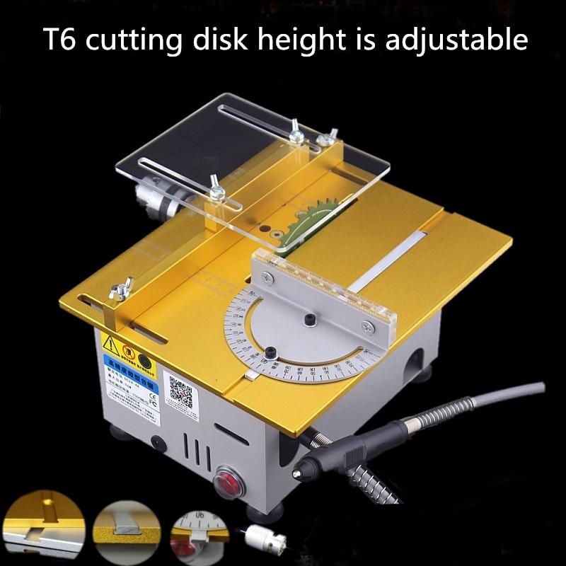 New T6-1 Aluminum Miniature Table Saw High Precision DC 24V 7000RPM Cutting Machine DIY Saws Precision Carpentry Chainsaw