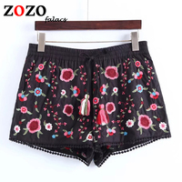 Falacs Zozo Summer Spring Vintage Gothic Bohemian Fashion Beach Casual Elastic Waist Embroidery Sexy Short Pants Women Capris