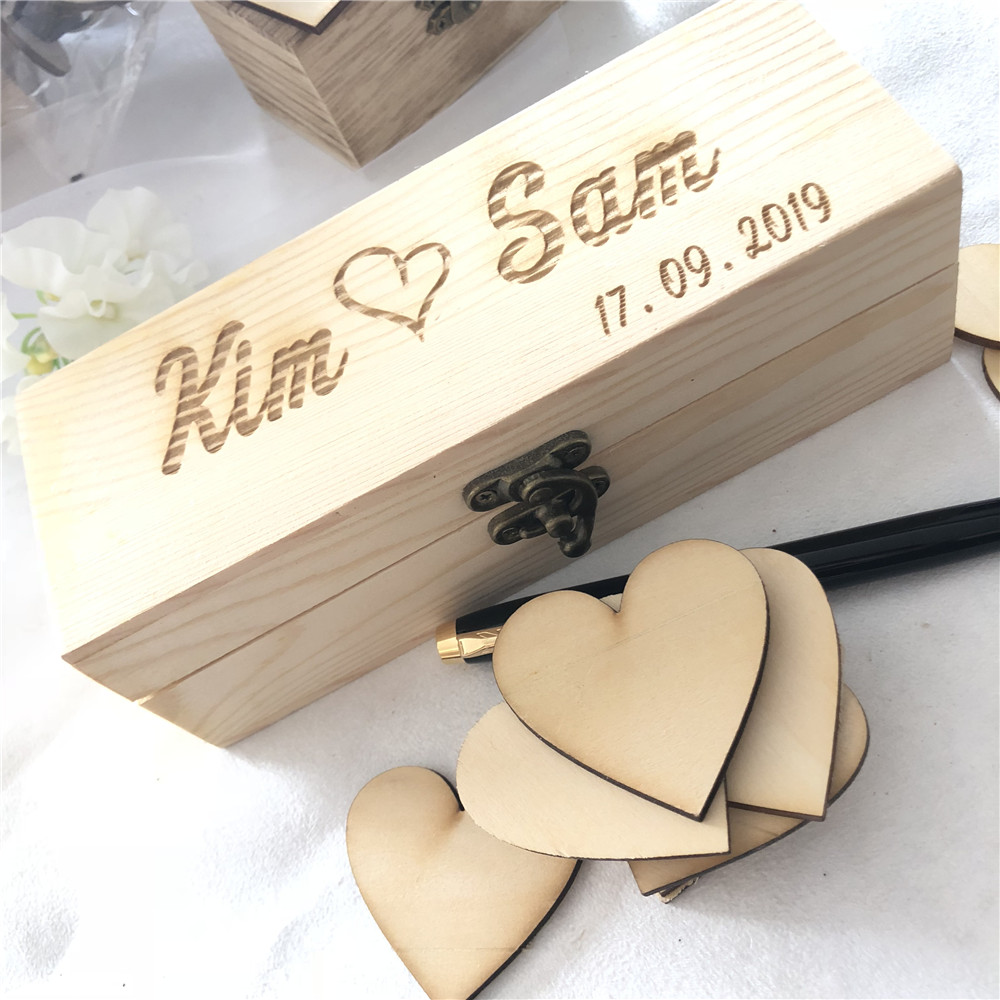 Us 13 29 5 Off Personalized Wedding Guest Book Rustic Guestbook Custom Wooden Rectangle Keepsake Box With Hearts In Signature
