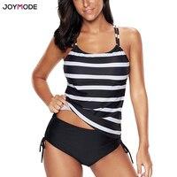 JOYMODE Two Pieces Bikini Stripe Bikini With Shorts Plus Size Bikini Racerback Strappy Swim Suit Sport